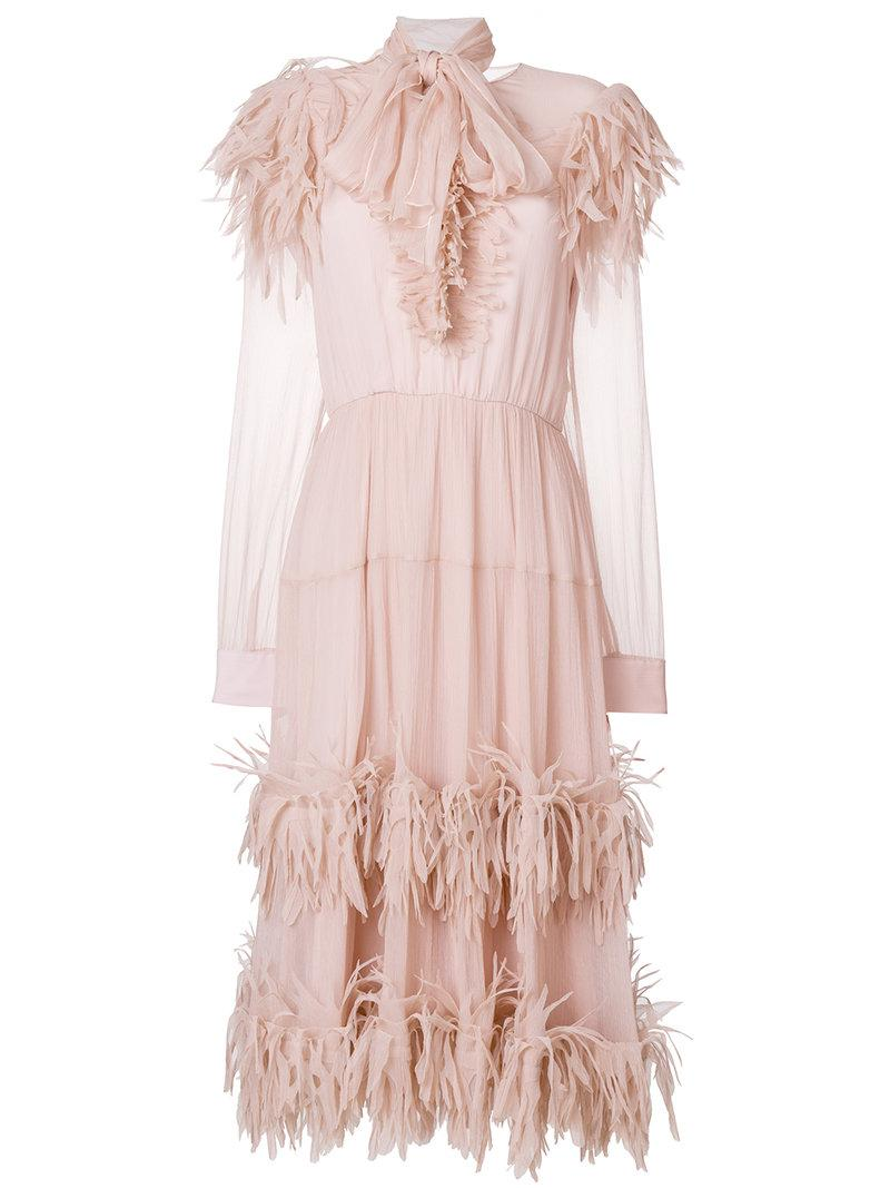 Pink dress with ruffles on the neckline Blumarine Cheap Sale Fast Delivery 8IR6Djm
