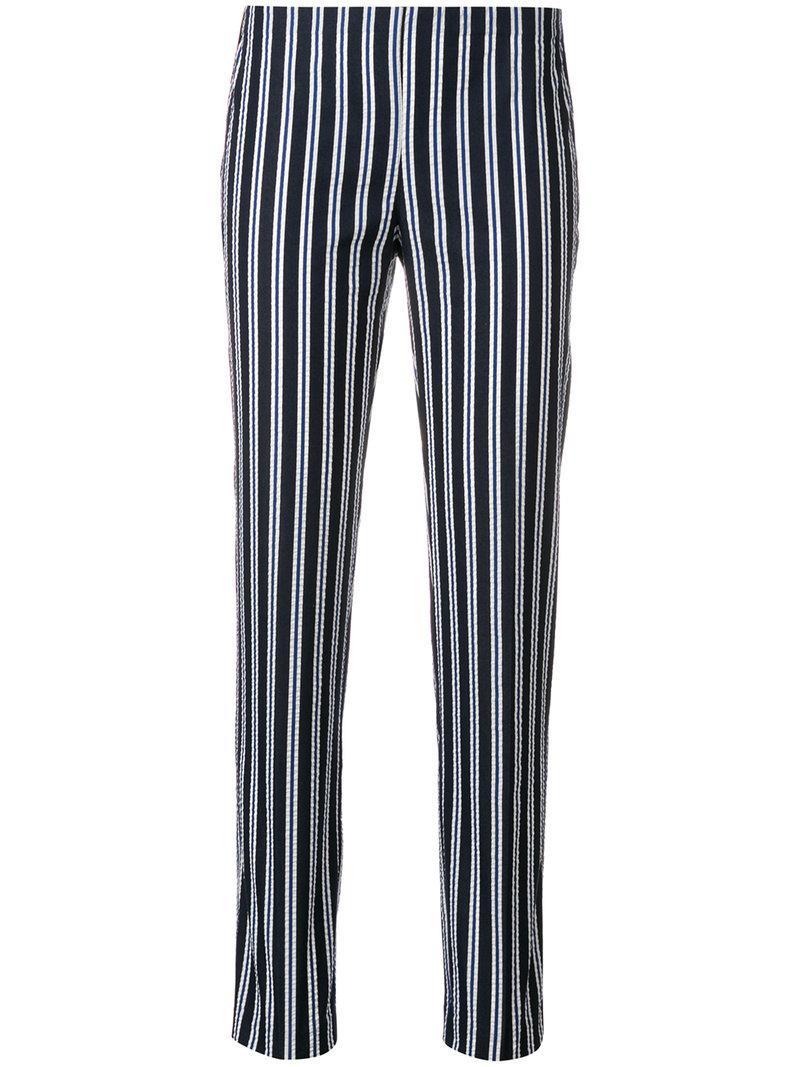 Pantalon Rayé Coniques - Parosh Bleu Xzwm2631