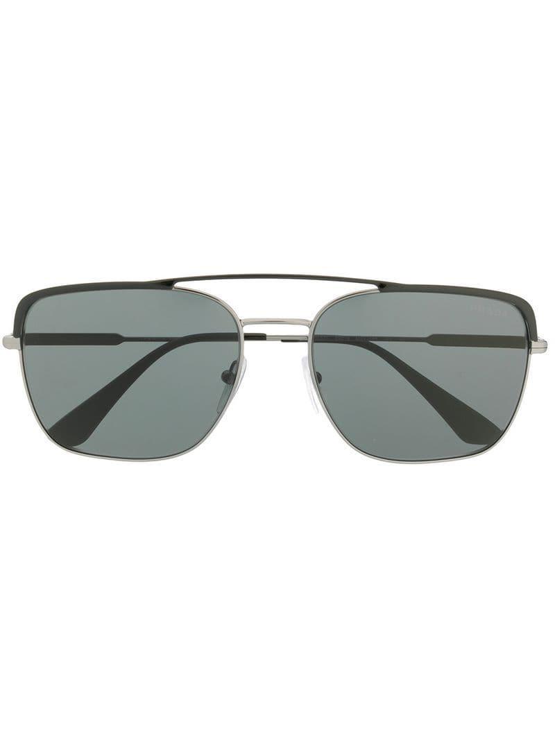 d7b0b4e8c88b Prada Contrast Bridge Sunglasses in Black for Men - Lyst