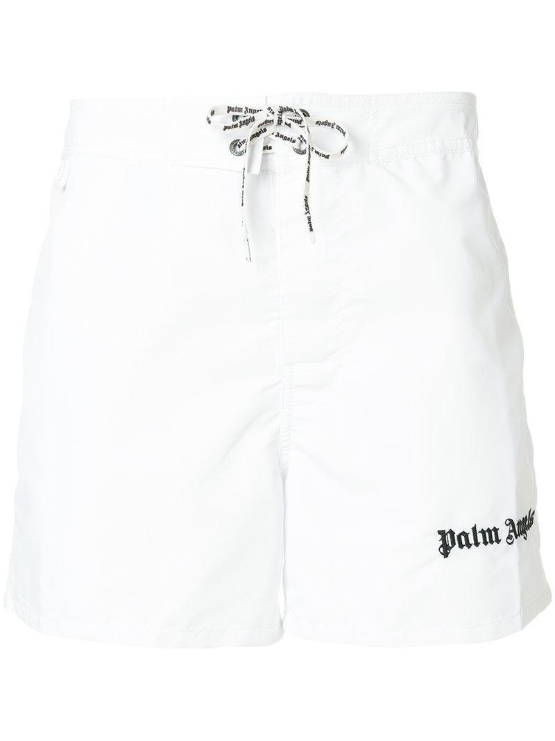 9d283ce3b3 Palm Angels Back Stripe Swim Shorts in White for Men - Lyst