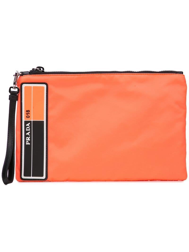 8190dccff Lyst Prada Hombre Con De Color Naranja Bolso Mano Logo BrW6qBHn