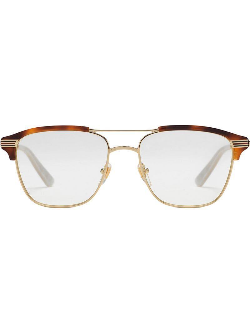 5dec5b6533f4 Lyst - Gucci Square-frame Metal Glasses in Metallic for Men