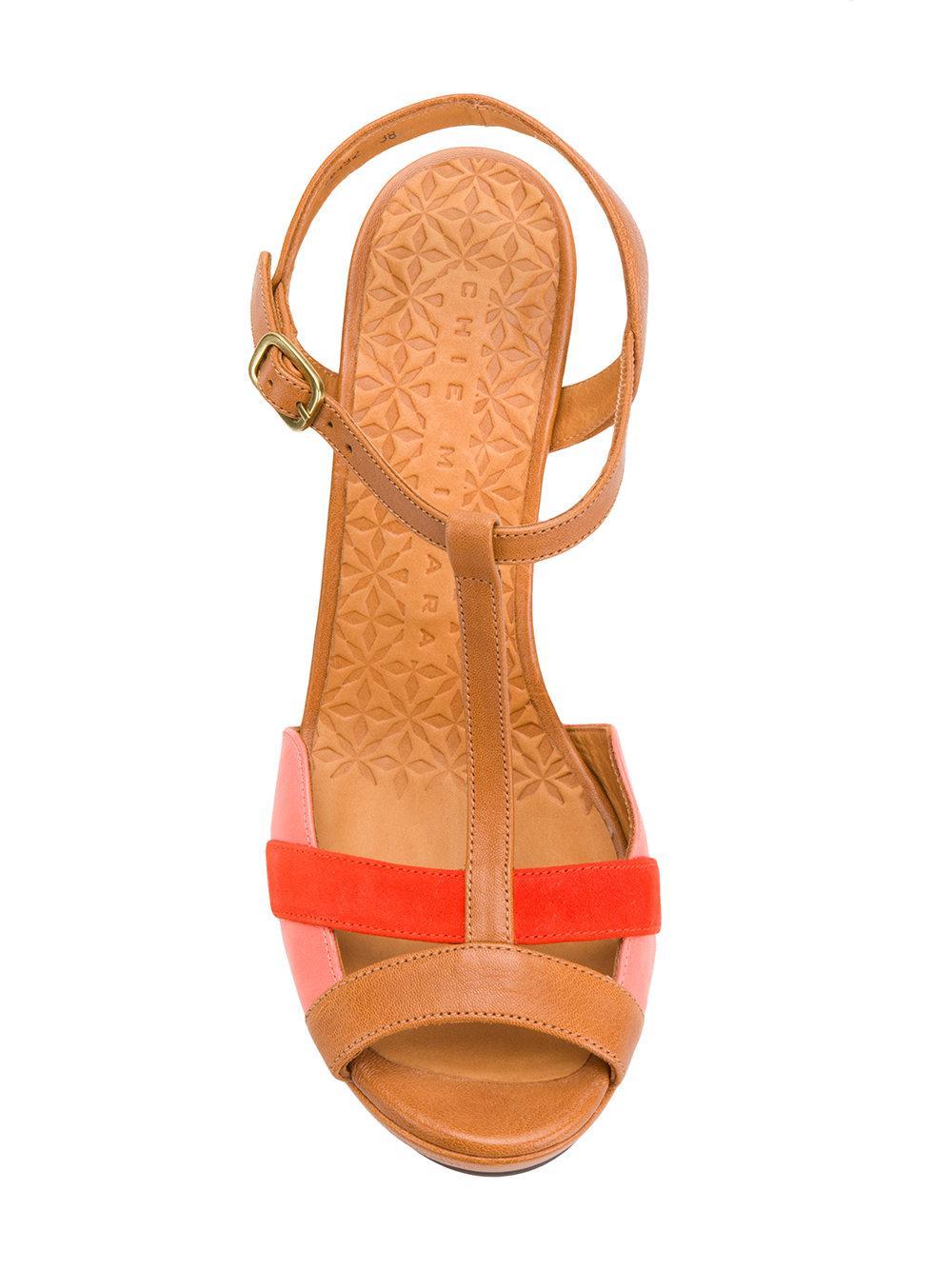 810428c53e2 Lyst - Chie Mihara Peep Toe Block Heel Sandals in Brown