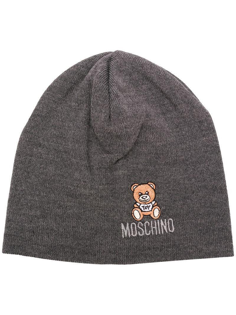 Moschino Teddy Bear Beanie in Gray - Lyst 07857c96d09