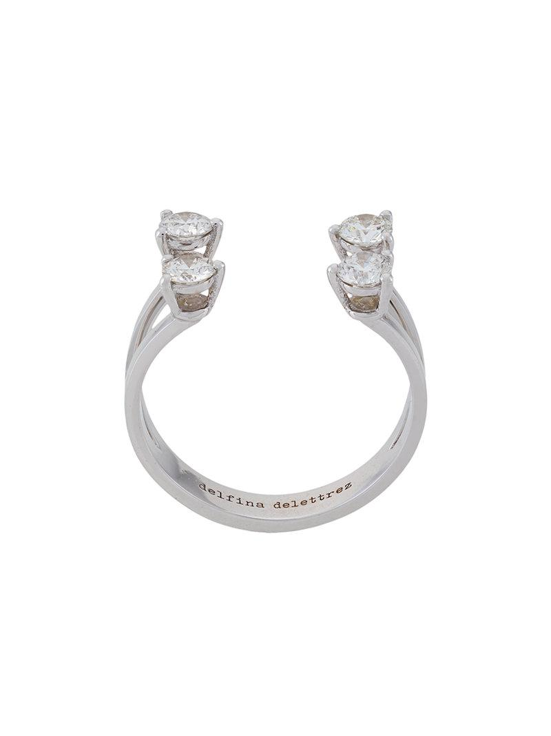Delfina Delettrez Complex gemetries diamond ring - Metallic NbuGrZB0P5
