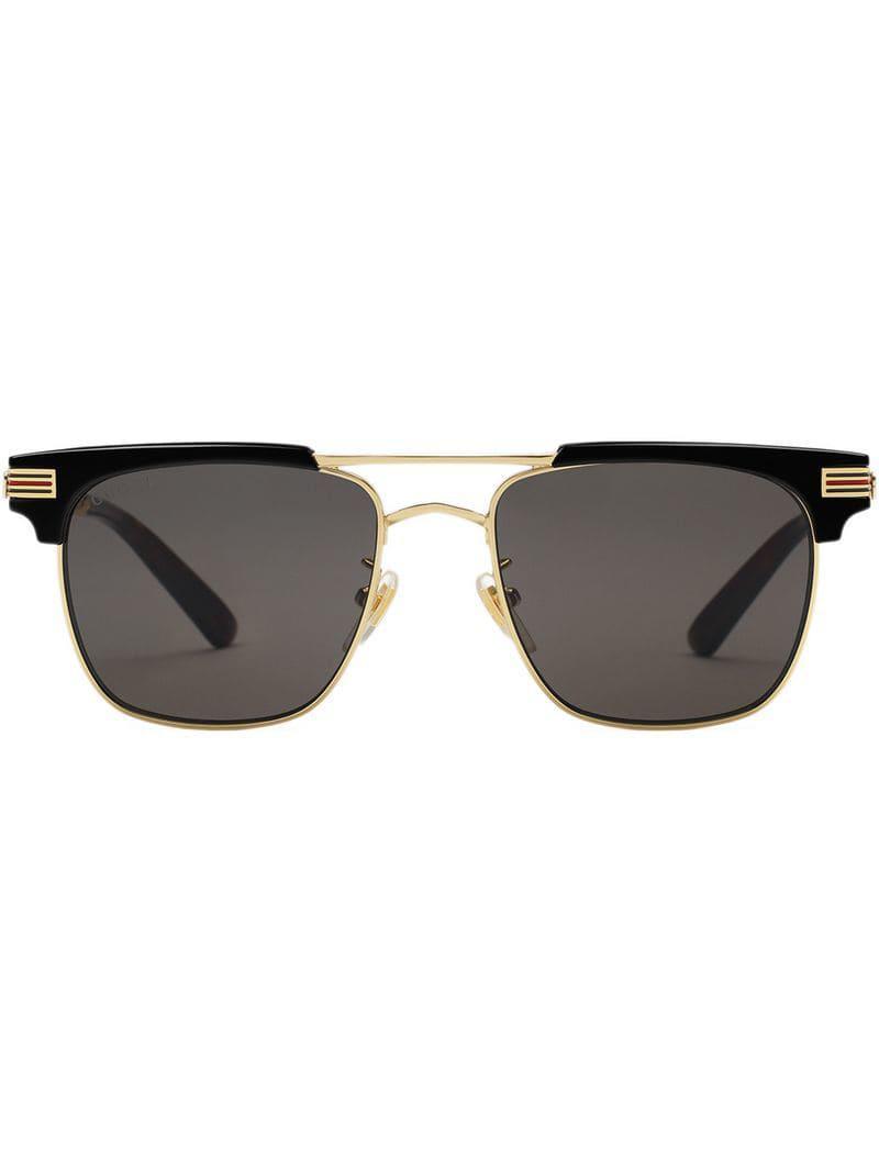 6eca13b65d Lyst - Gucci Square-frame Metal Sunglasses in Metallic for Men