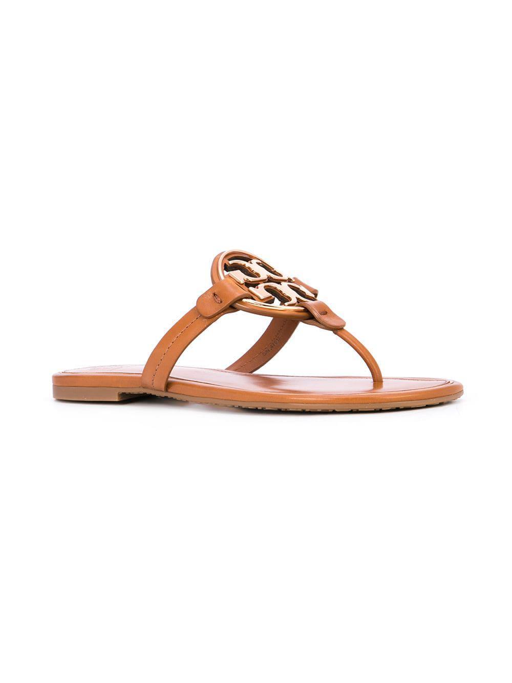 b8c3f22f5 Tory Burch Liana Flat Sandals in Brown - Lyst