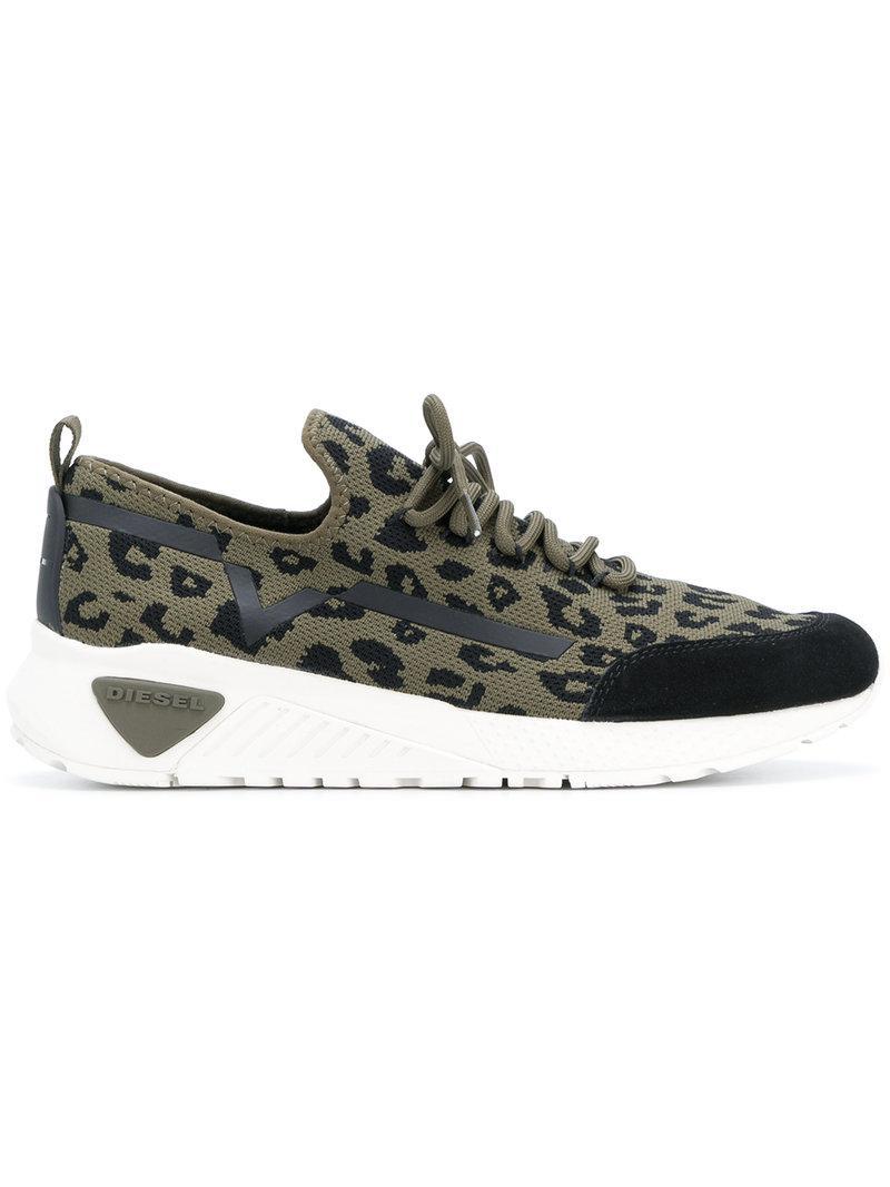 leopard print low-top sneakers - Green Diesel VNCnt5