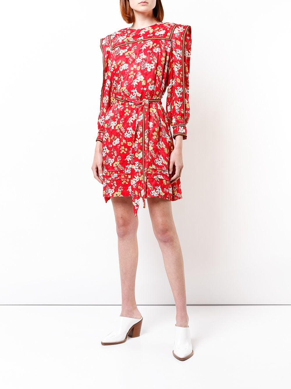c0b557d1b1 Lyst - 10 Crosby Derek Lam Belted Bouquet Floral Print Silk-blend Jacquard  Shift Dress in Red