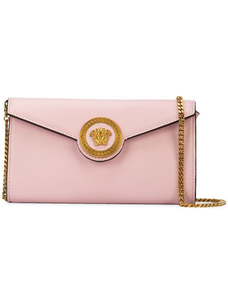 1419cdae5343 Versace Foldover Medusa Clutch in Pink - Lyst