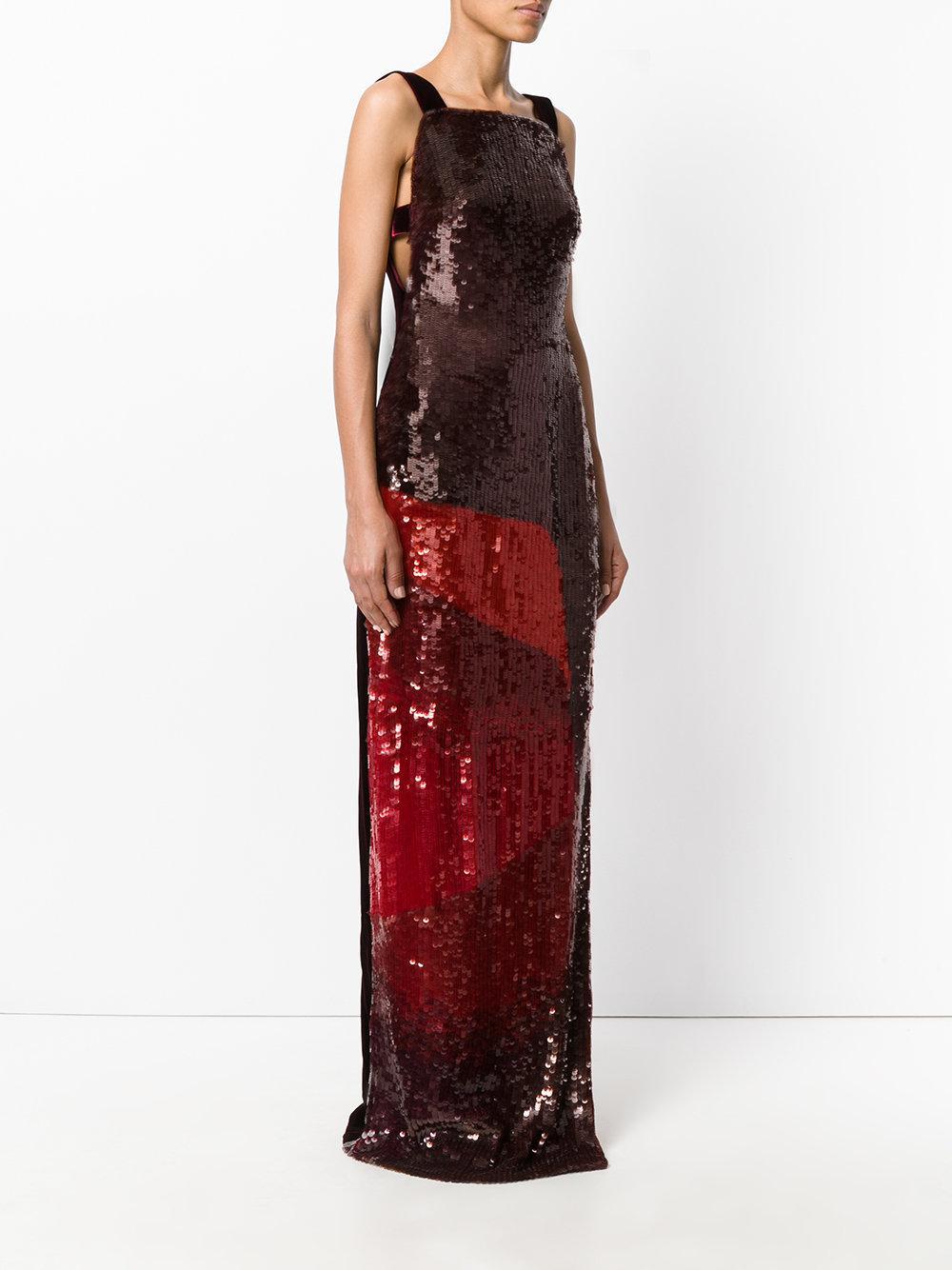 Lyst - Robe longue brodée de sequins Tom Ford en coloris Rouge 0c2479fd89a4