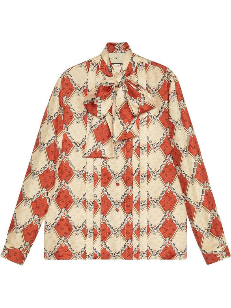 e8645b94995f3 Lyst - Gucci Silk Shirt With Snake Rhombus Print in Red