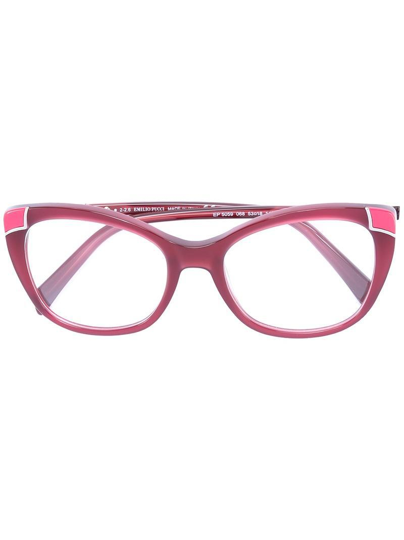 d05966f442be Emilio Pucci Butterfly Frame Glasses in Red - Lyst