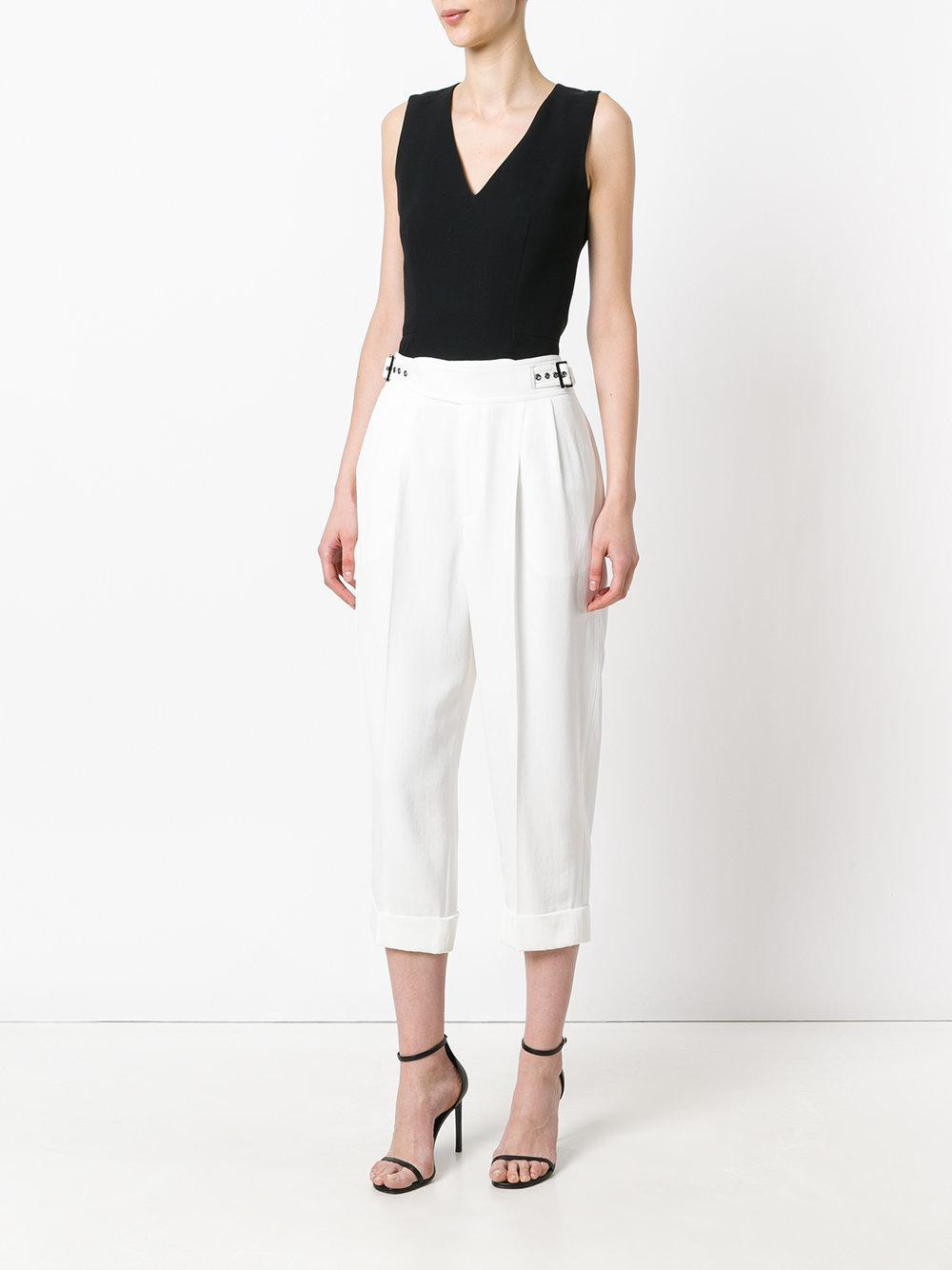 Women's Waisted Cropped Trousers High White 8POnNw0kX