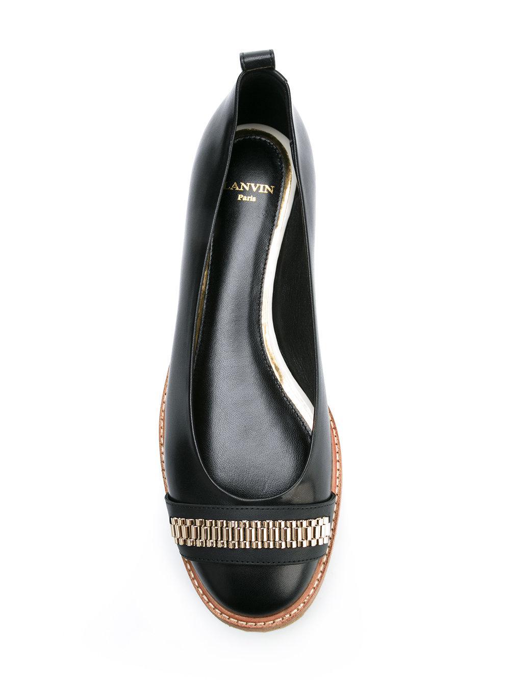Lanvin Chaussures De Ballerine Chaîne Lien - Noir gF9j9XqJ