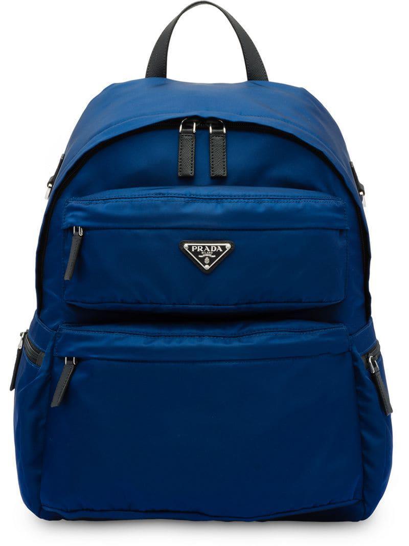 5e4e80455b35 Prada - Blue Nylon Backpack for Men - Lyst. View fullscreen