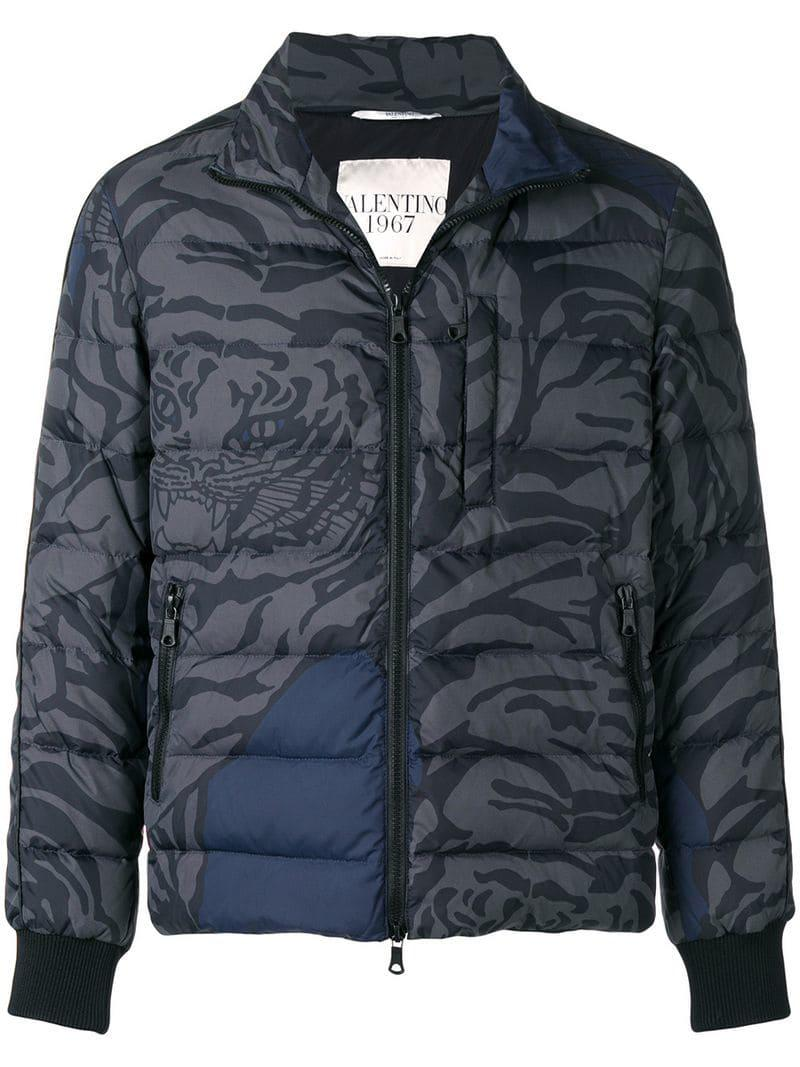 fb677c89cc4d6 Valentino Tiger Quilted Jacket in Gray for Men - Save ...