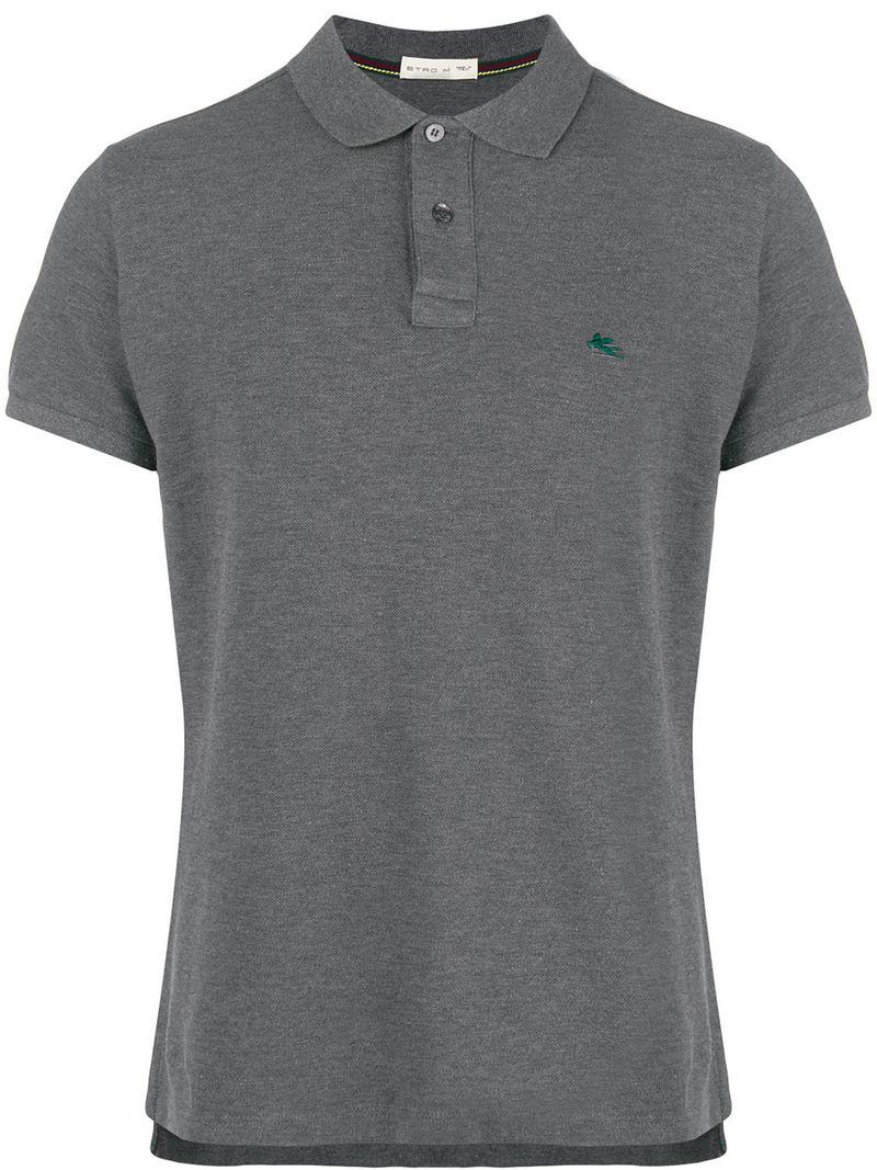 Lyst Etro Logo Embroidered Polo Shirt In Gray For Men