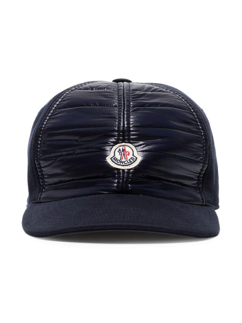85bbbb69ddfd Lyst - Moncler Navy Blue Logo Patch Cotton Cap in Blue for Men