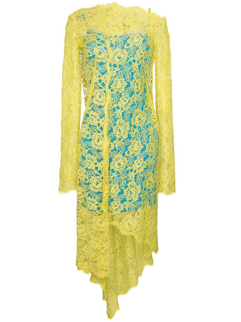 Lace dress with dipped hem - Yellow & Orange Preen Clearance With Paypal Grey Outlet Store Online Outlet Where Can You Find Clearance In China Offer MFEioZrD