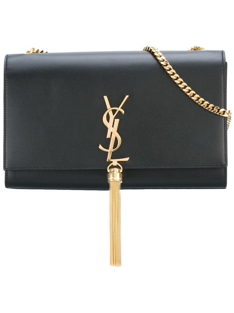 633546c2e412 Lyst - Saint Laurent Medium Monogram Kate Shoulder Bag in Black