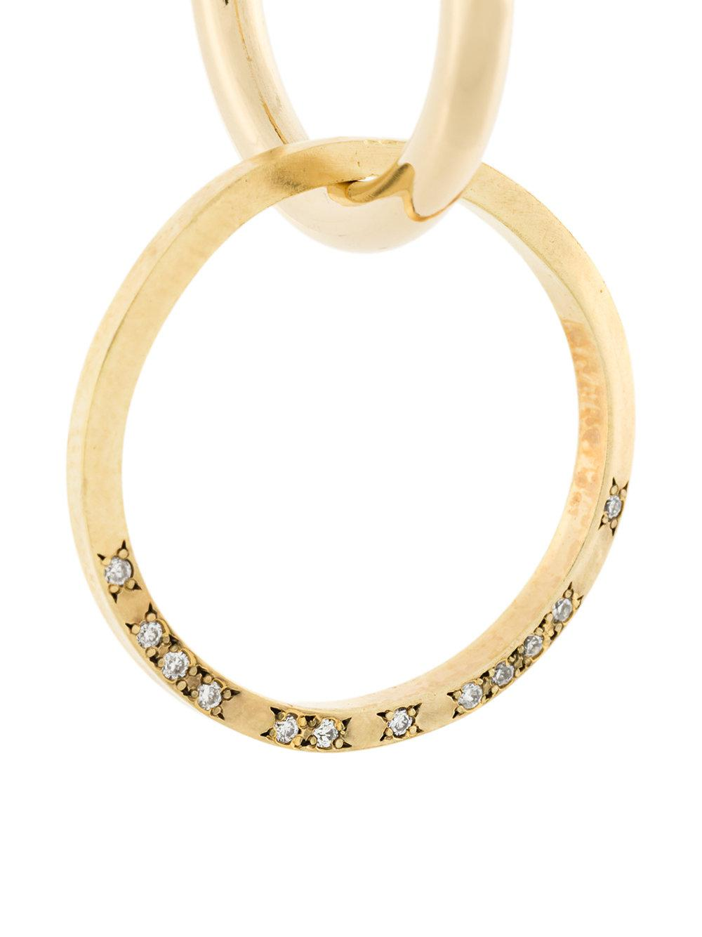 Lara Melchior 24kt gold single hoop diamond earring - Metallic QJ0UO8
