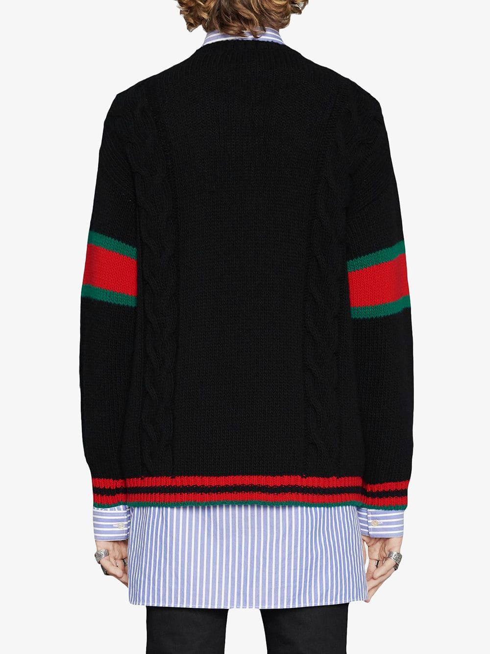 24ba7e950171 Lyst - Gucci Cable Knit Sweater in Black for Men