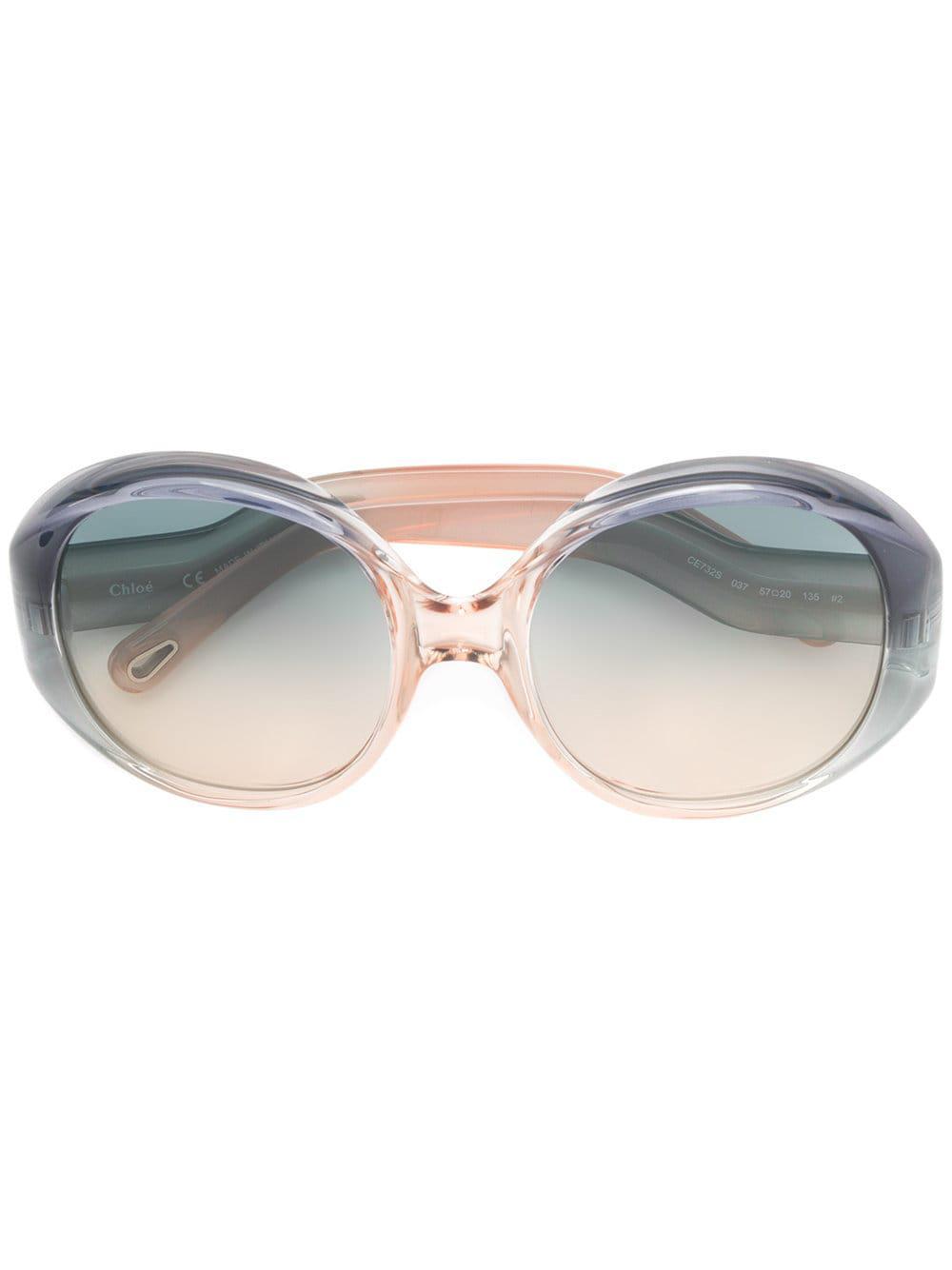 aba15a72a6 Lyst - Gafas de sol con montura redonda oversize Chloé de color Azul