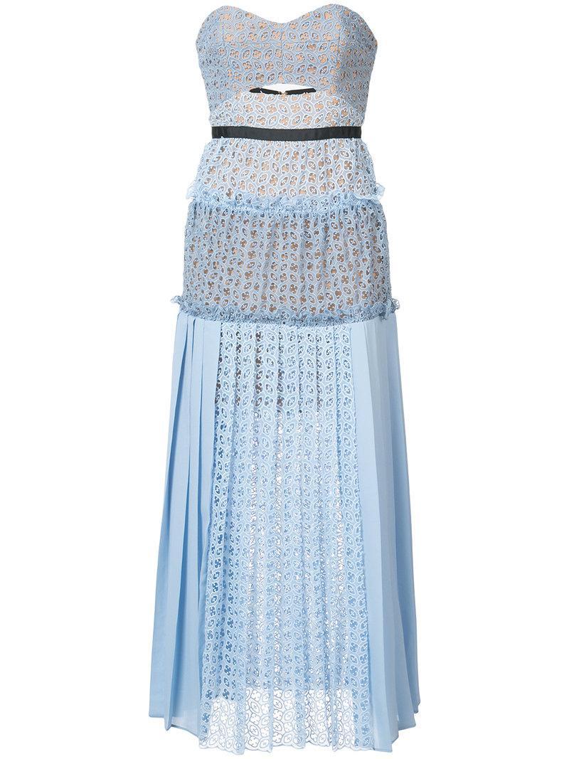 Self-Portrait pleated bardot dress Outlet Cheap Prices Cheap Sale Prices 4Oqo0