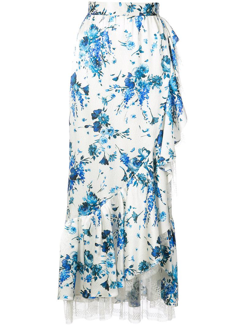 Cheap Sale Get Authentic For Sale Cheap Price Adam Lippes floral-print lace-trimmed ruffled midi skirt Free Shipping Pictures e6Hhm