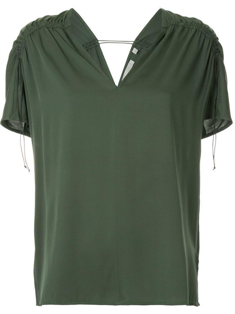 8bfd3825fa00 Vince V-neck Blouse in Green - Lyst