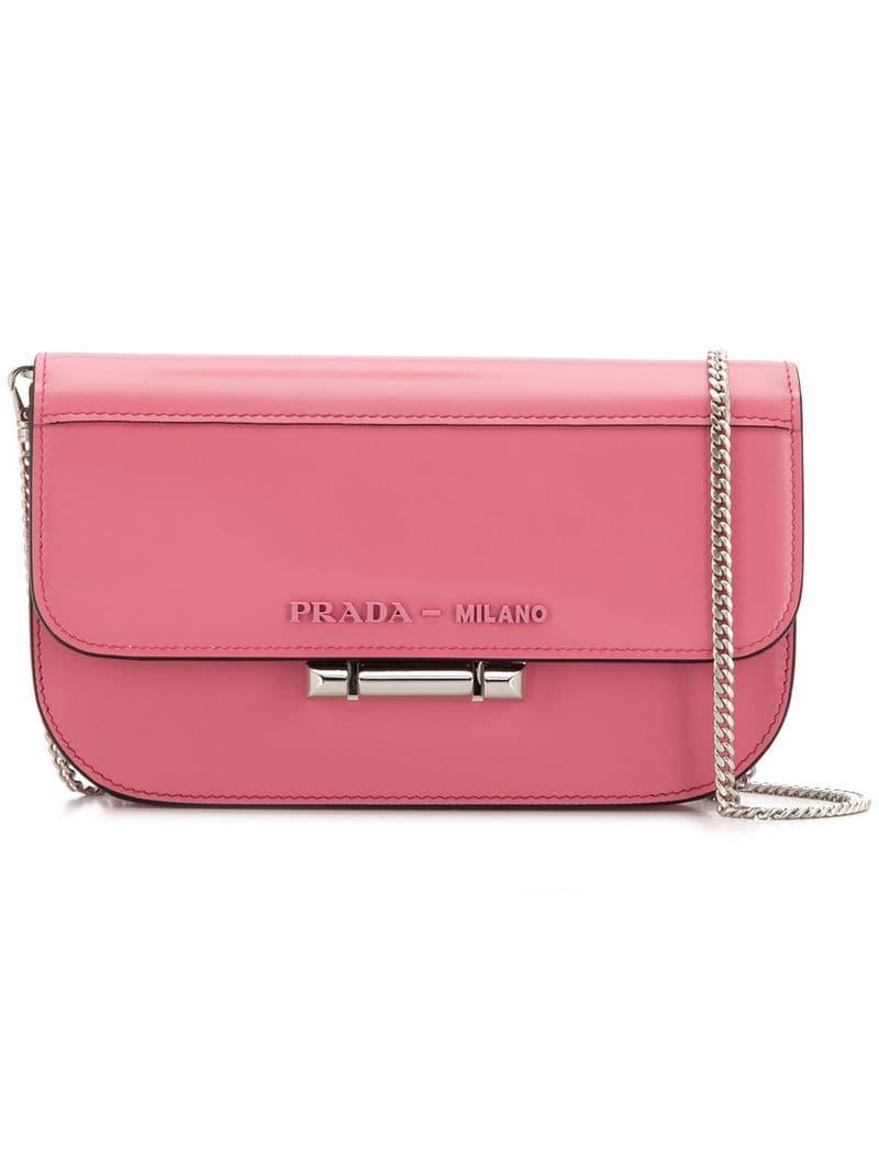 5ffa87f63c2899 Prada Foldover Top Crossbody Bag in Pink - Lyst