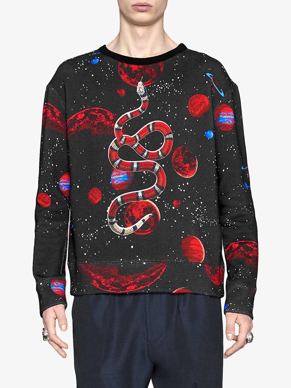 0c1fc72ed Gucci - Black Space Snake Print Sweatshirt for Men - Lyst. View fullscreen