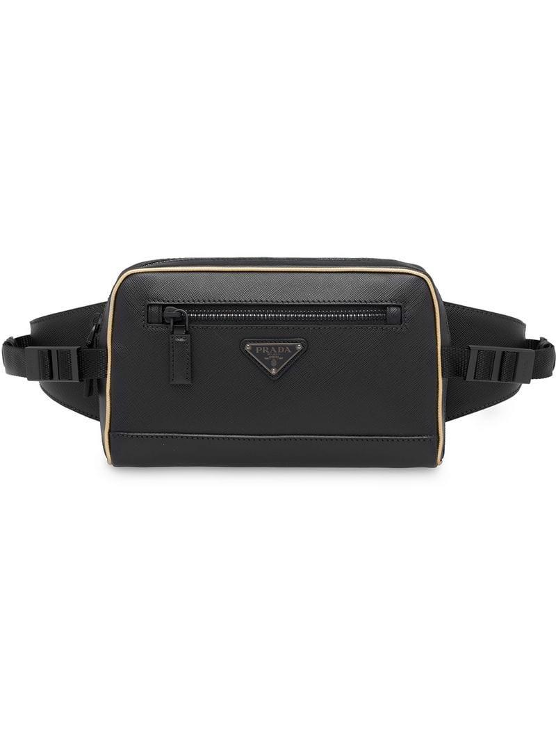 4218483934d29b Prada - Black Saffiano Leather Belt Bag for Men - Lyst. View fullscreen