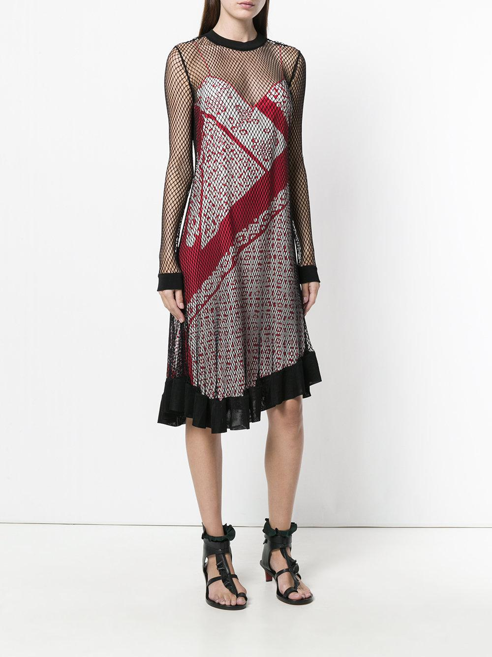 engineered animal stripe print cami dress with mesh overlayer - Multicolour Altuzarra