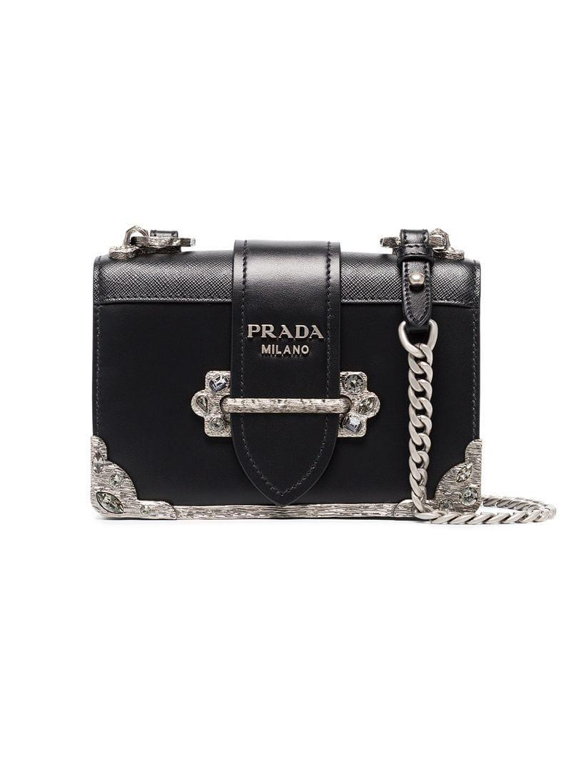 cebd23d019f0 ... where can i buy prada black cahier mini leather bag lyst. view  fullscreen 9ca39 067d2