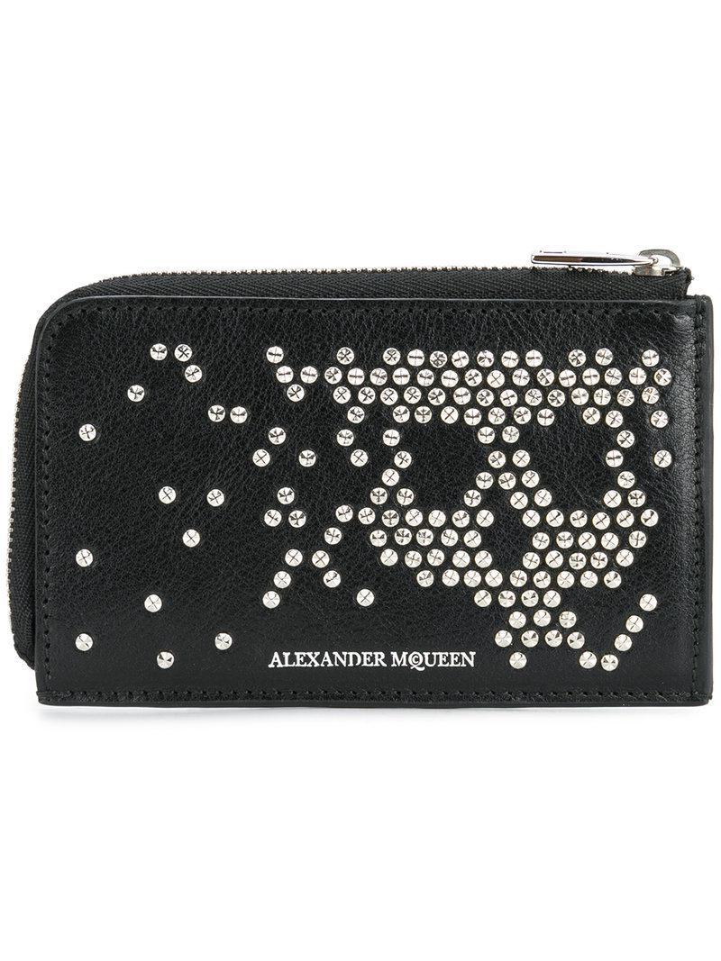 5ec54adc166cd Lyst - Alexander McQueen Abstract Skull Stud Wallet in Black for Men