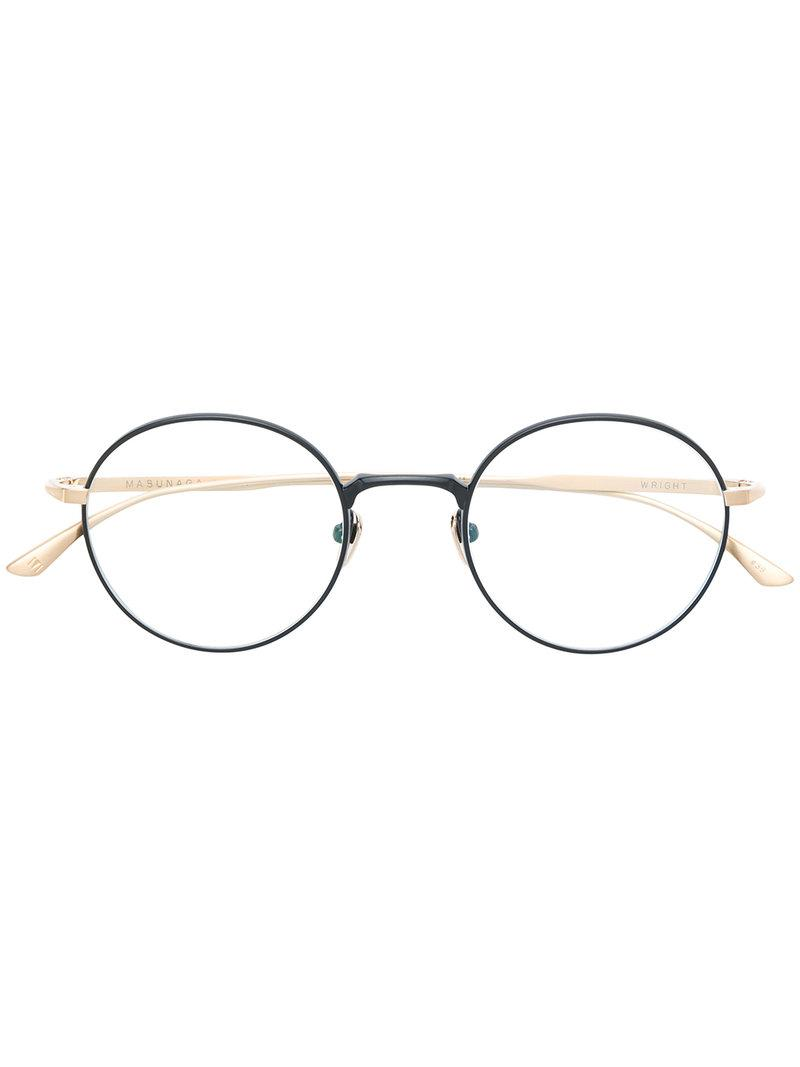 7b112fcc440 Masunaga Round Shape Glasses in Metallic - Lyst