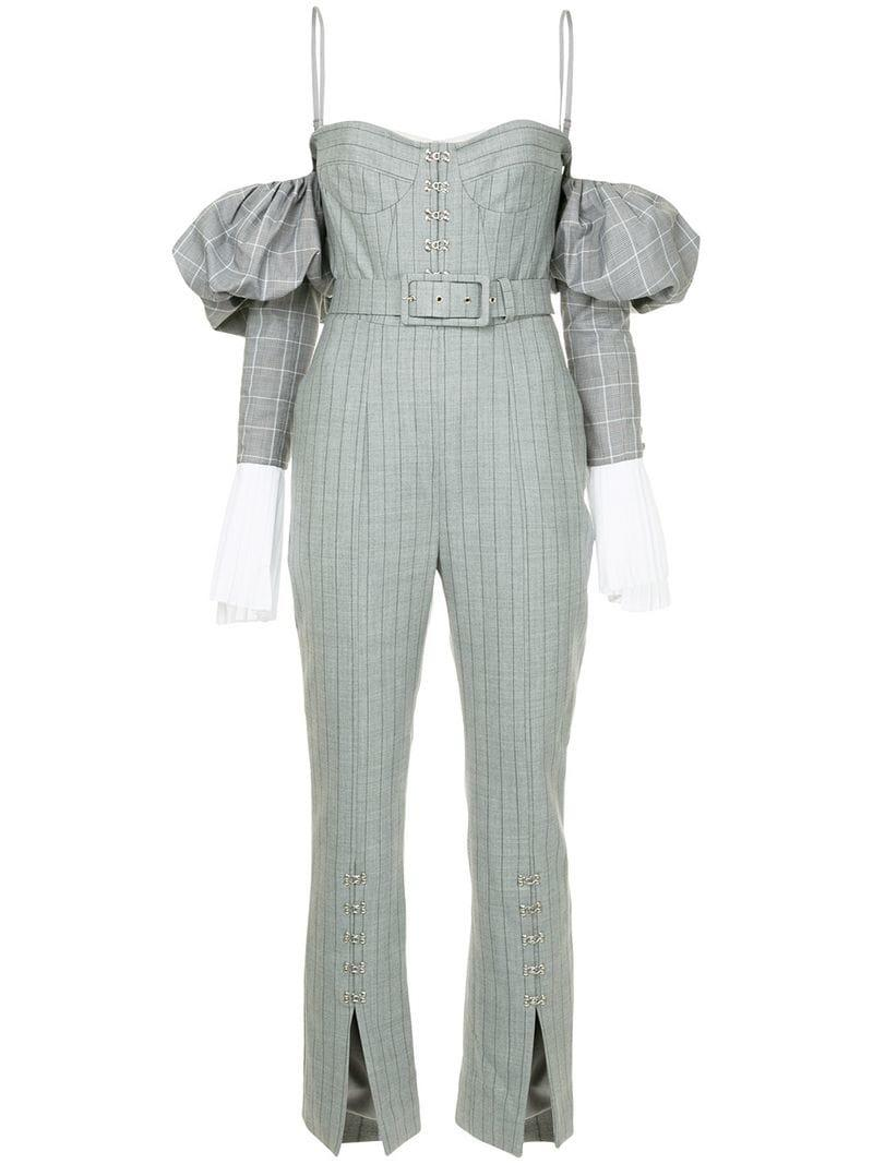 39b6da8686a9 Jonathan Simkhai Fitted Silhouette Jumpsuit in Gray - Lyst