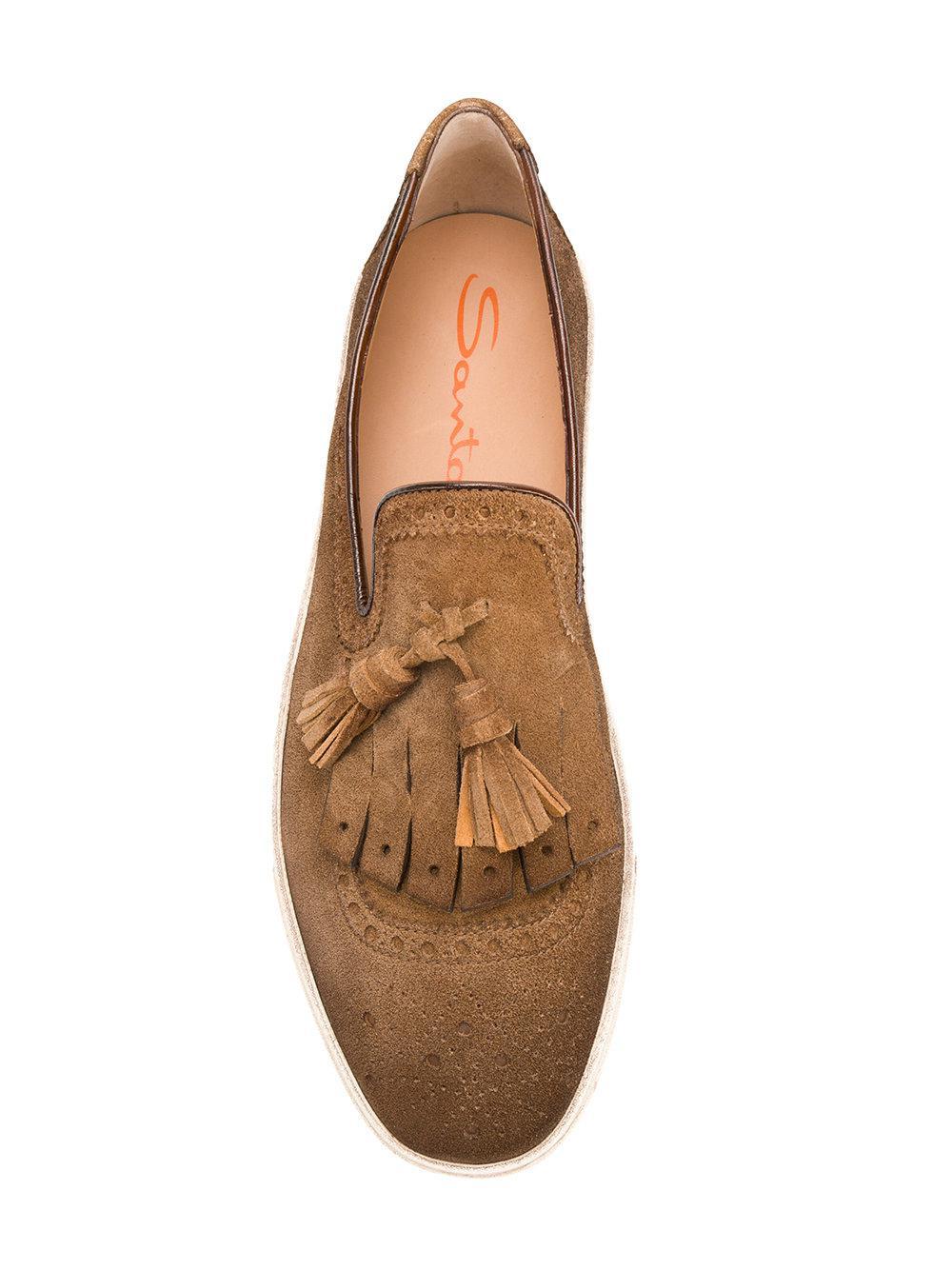 3fa109d566d Lyst - Santoni Tassel Loafers in Brown