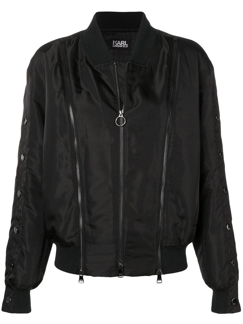 Karl Lagerfeld snap sleeve bomber jacket Cheap Sale Cheap Low Price Cheap Online Where To Buy Low Price Cheap Find Great pIfkrn