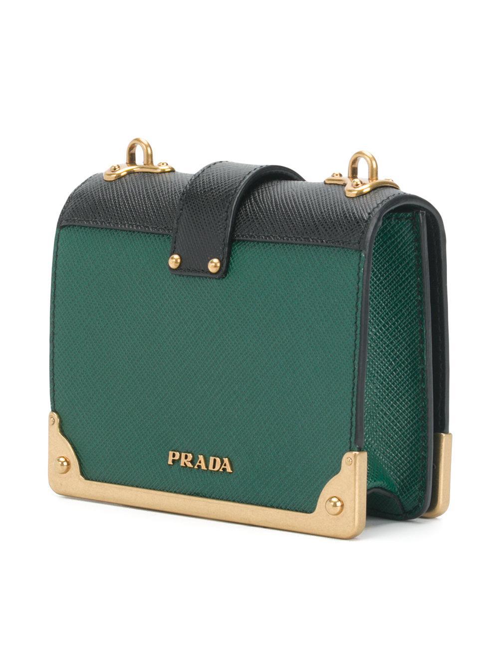 7efe75139e3b Prada Cahier Mini Moon And Stars Bag in Green - Lyst