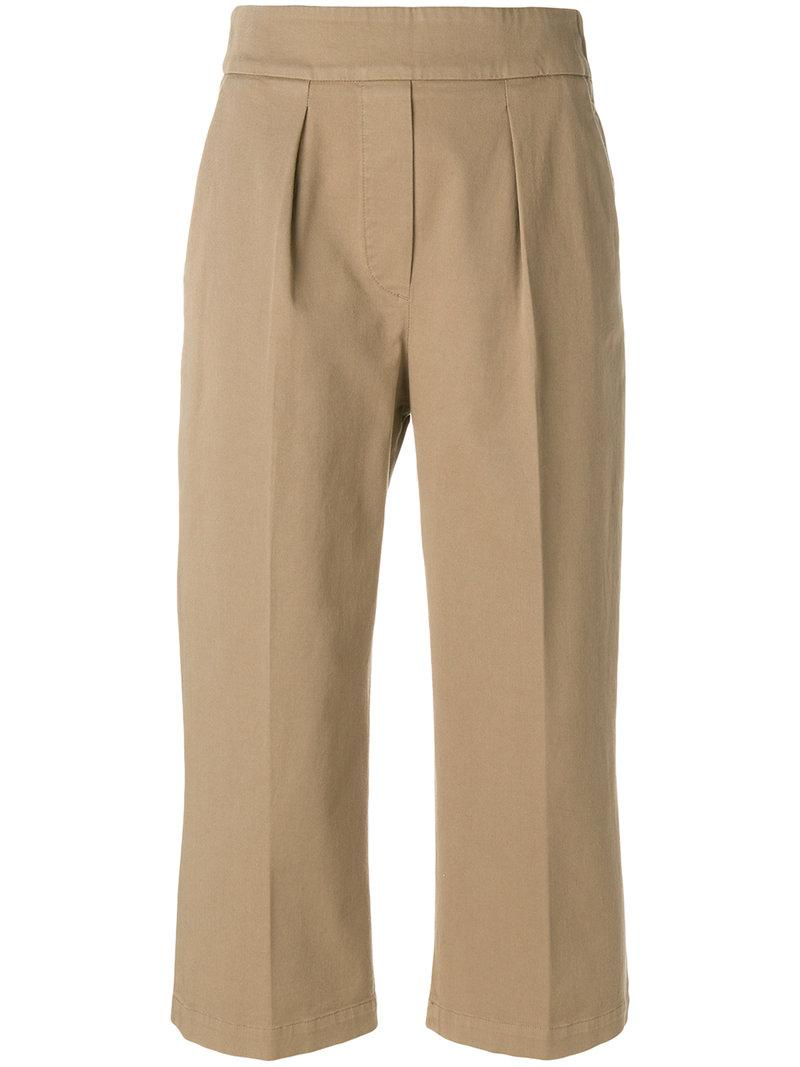 front pleat cropped trousers - Nude & Neutrals Fabiana Filippi Iyw7G