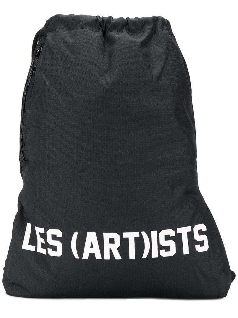 Lyst - LES (ART)ISTS Logo Drawstring Backpack in Black for Men cf9307a0b5119