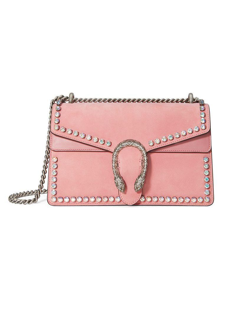 e94cb7f90b8 Lyst - Gucci Dionysus Suede Shoulder Bag With Crystals in Pink ...