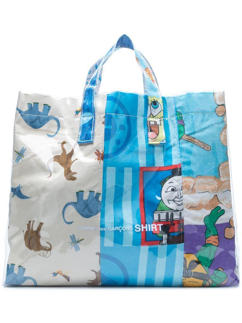 cbadd90277 Comme Des Garçons Cartoon Print Shopper Bag in Blue for Men - Lyst