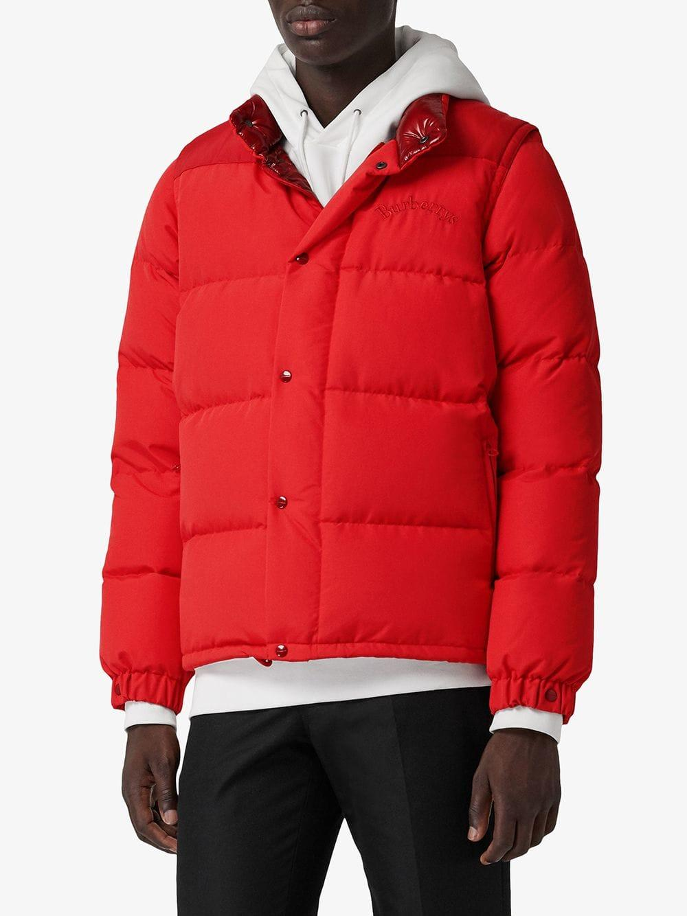 fd3162b9998 Burberry Detachable-sleeve Down-filled Puffer Jacket in Red for Men ...