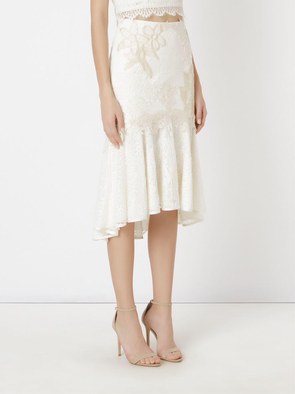602c46c60 Martha Medeiros - White Embroidered Lace Mix Midi Skirt - Lyst. View  fullscreen