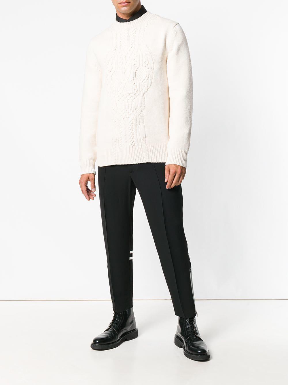 9ef998f5e40e3f Alexander McQueen - White Cable-knit Sweater for Men - Lyst. View fullscreen