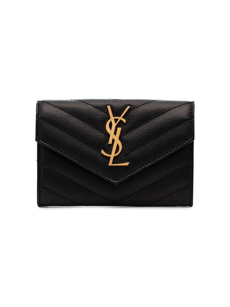 Saint Laurent Black Monogram Quilted Grained Leather Wallet in Black ... ebbe914d7be03